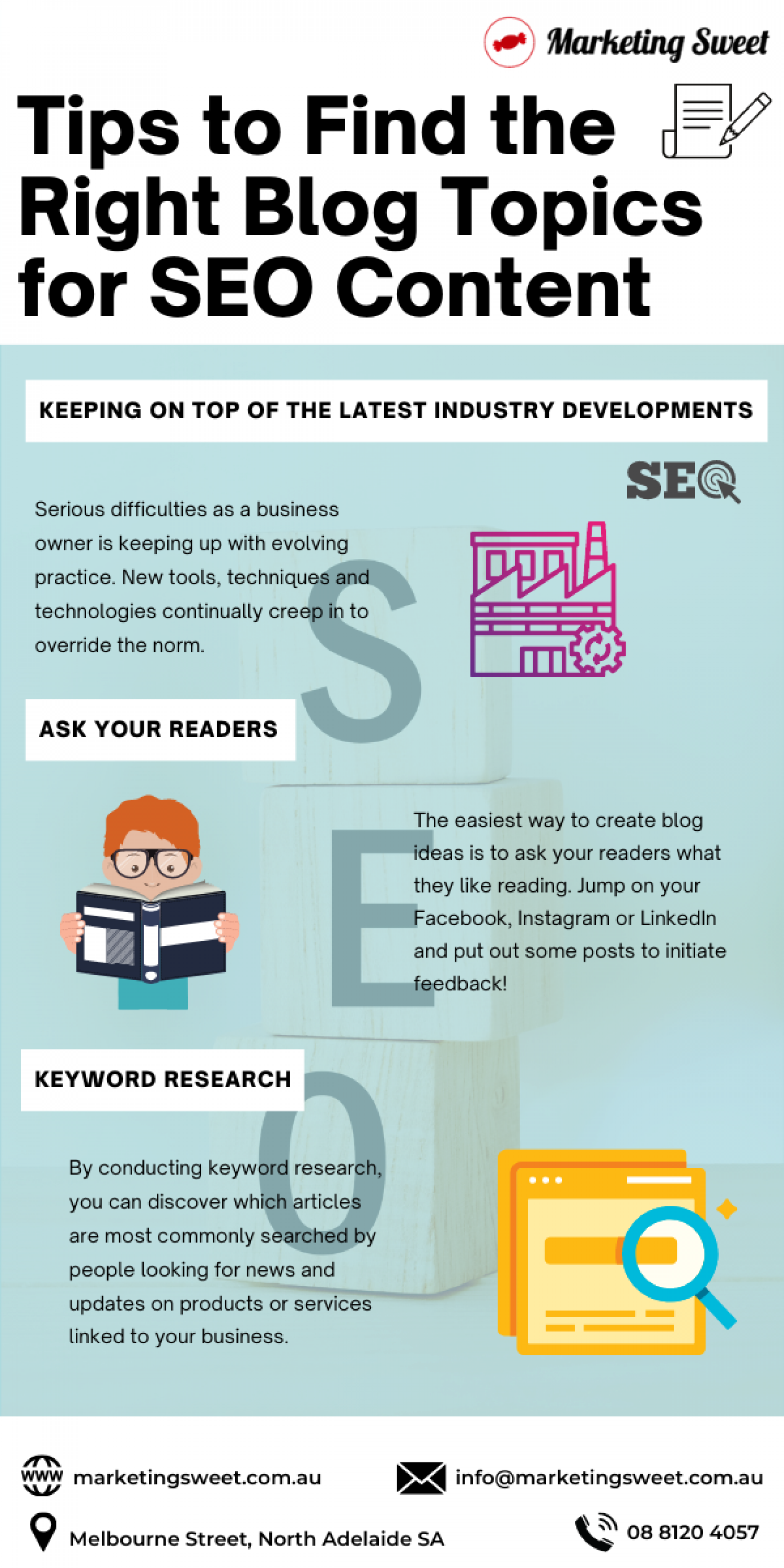 Tips to Find the Right Blog Topics for SEO Content Infographic
