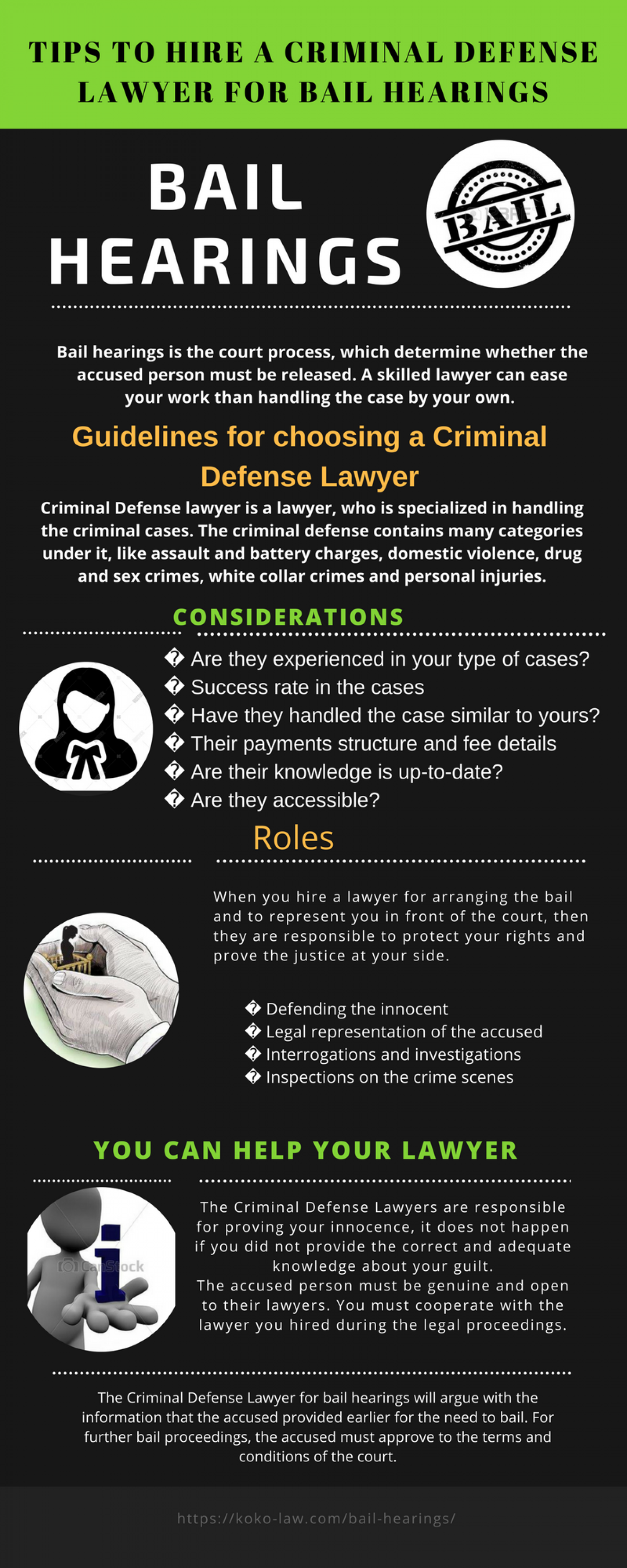 Tips to hire a Criminal Defense Lawyer for bail hearings Infographic