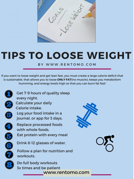 Tips to loose weight by www.rentomo.com Infographic