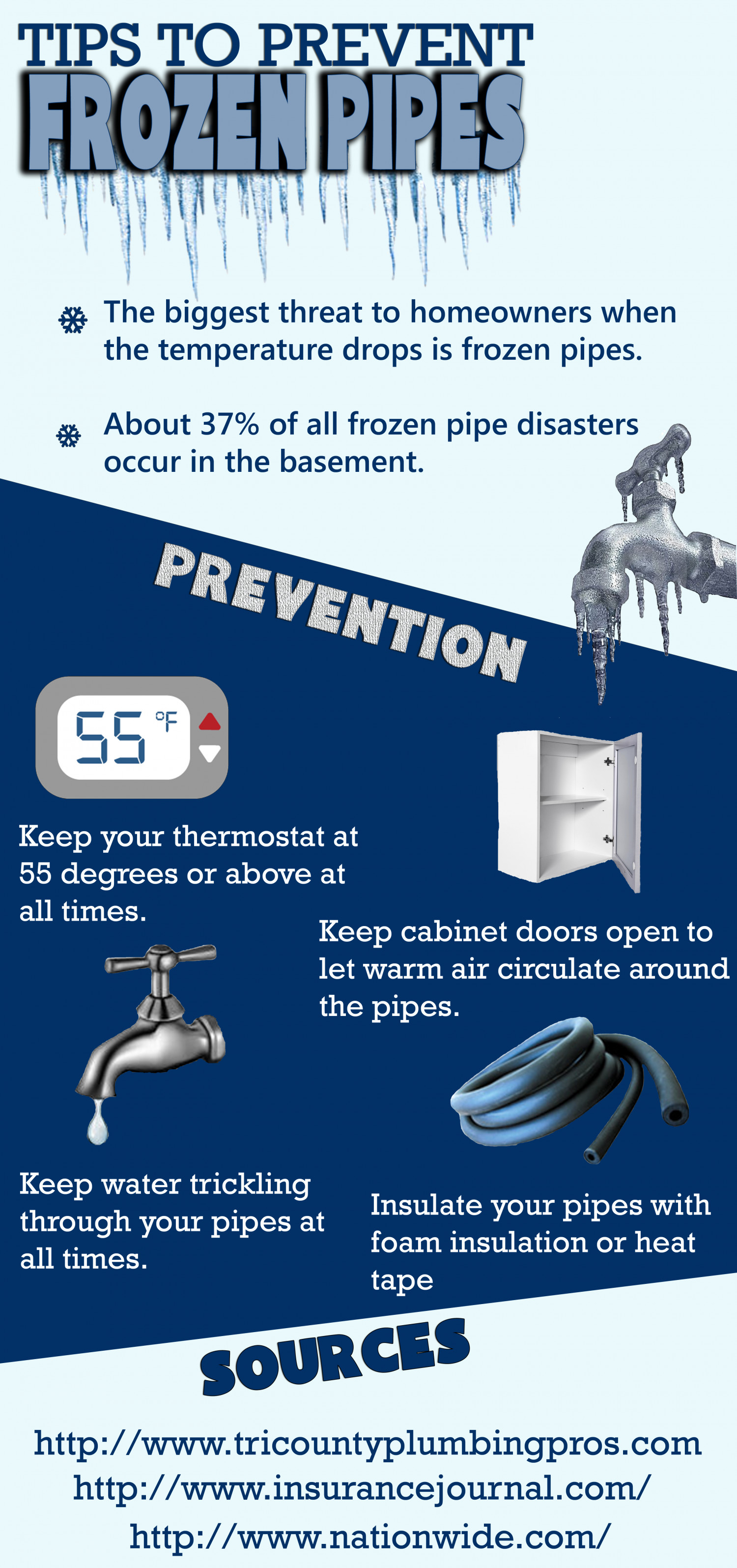 Tips to Prevent Frozen Pipes  Infographic