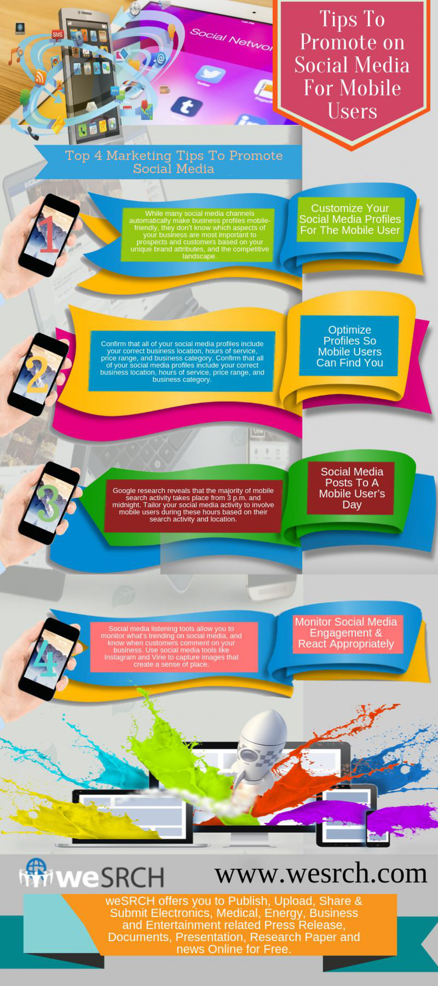 Tips to promote on social media for mobile users Infographic
