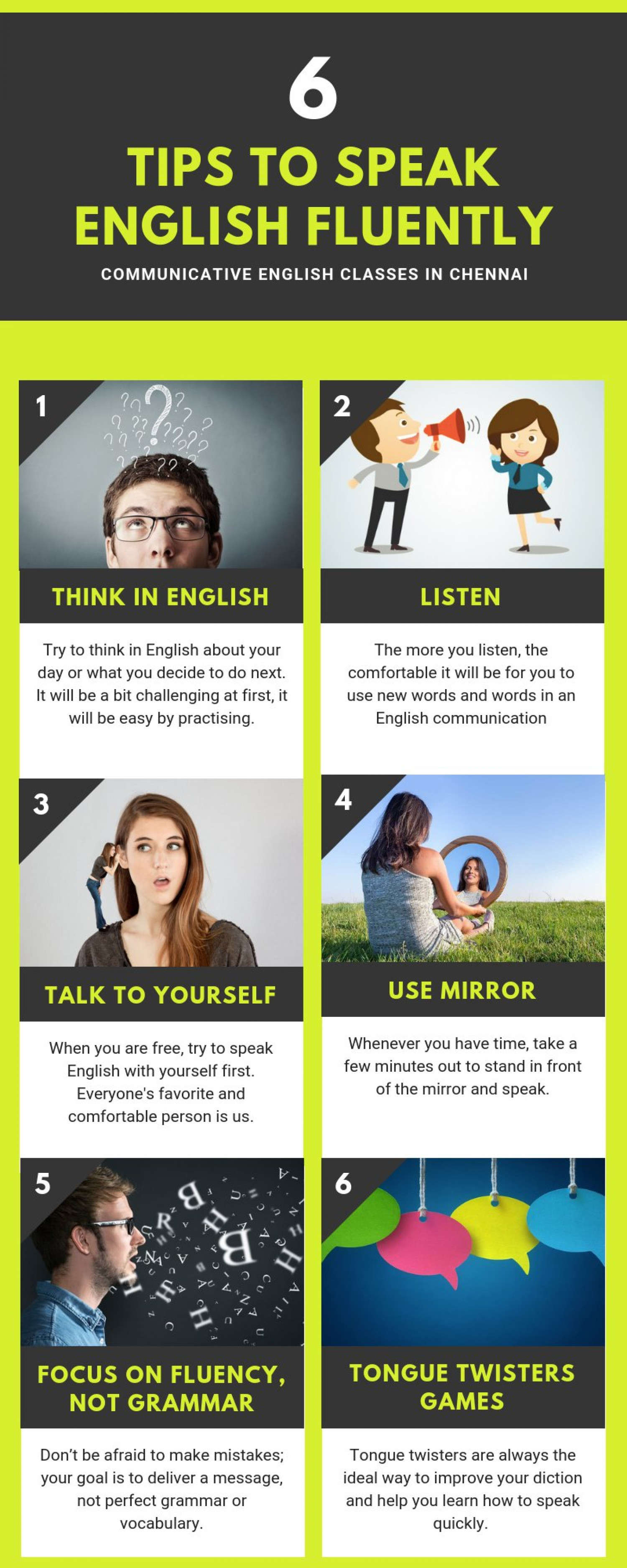 Tips to Speak English Fluently Infographic