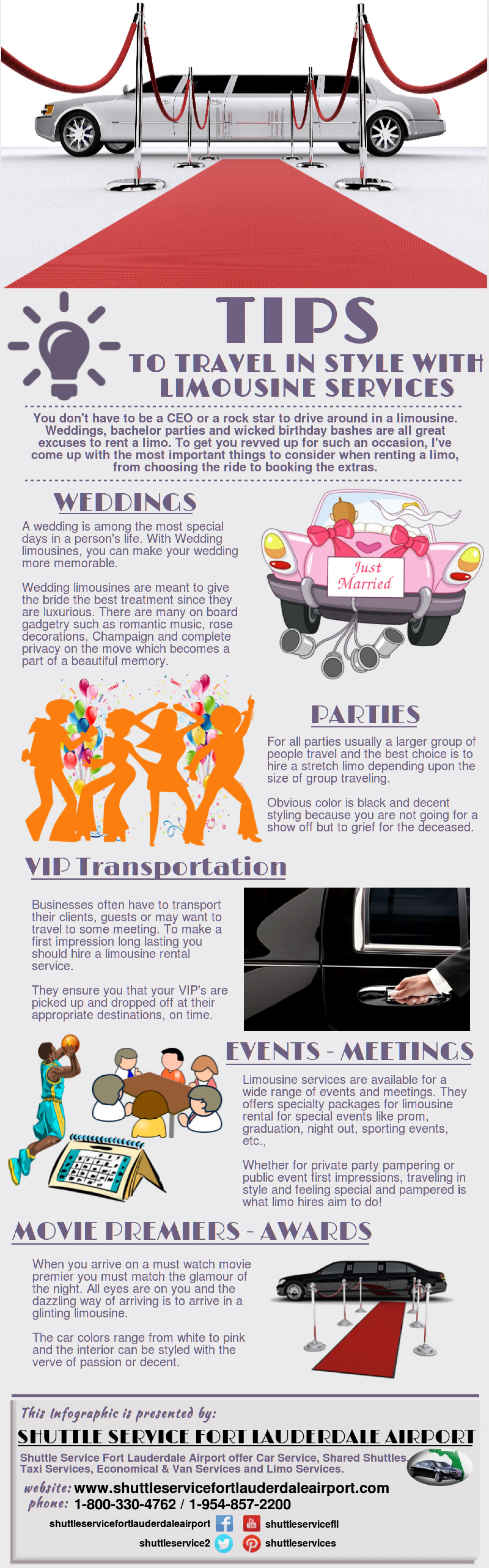 Tips To Travel In Style With Limousine Services Infographic