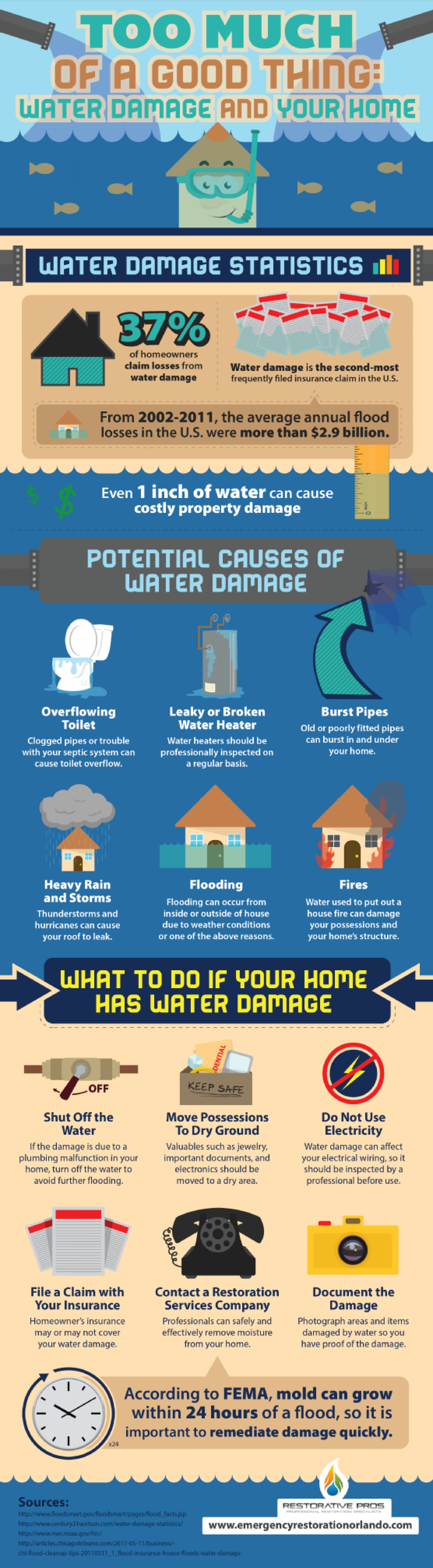 Too Much of a Good Thing: Water Damage and Your Home  Infographic