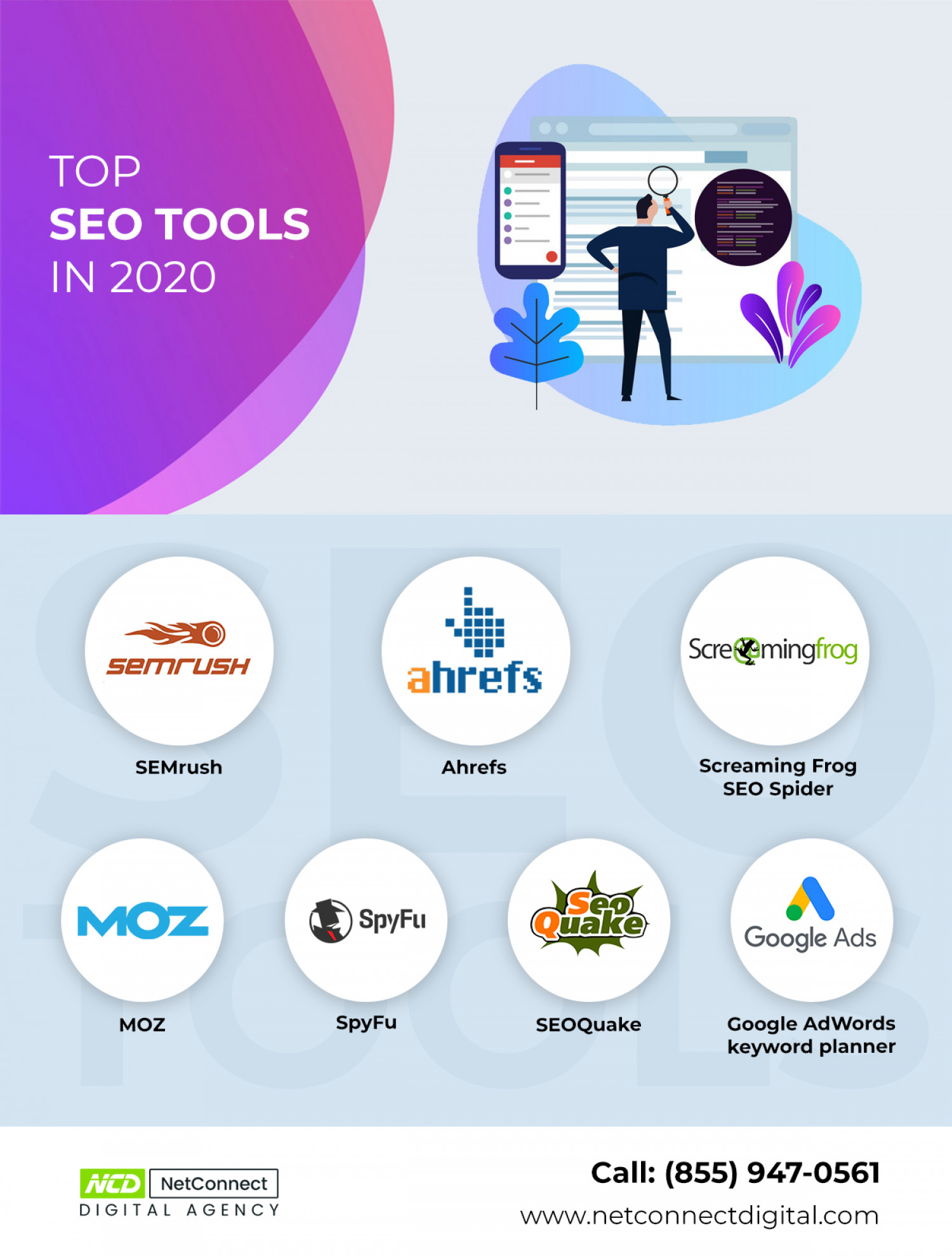 TOP  SEO TOOLS IN 2020 - NetConnect Digital Agency Infographic