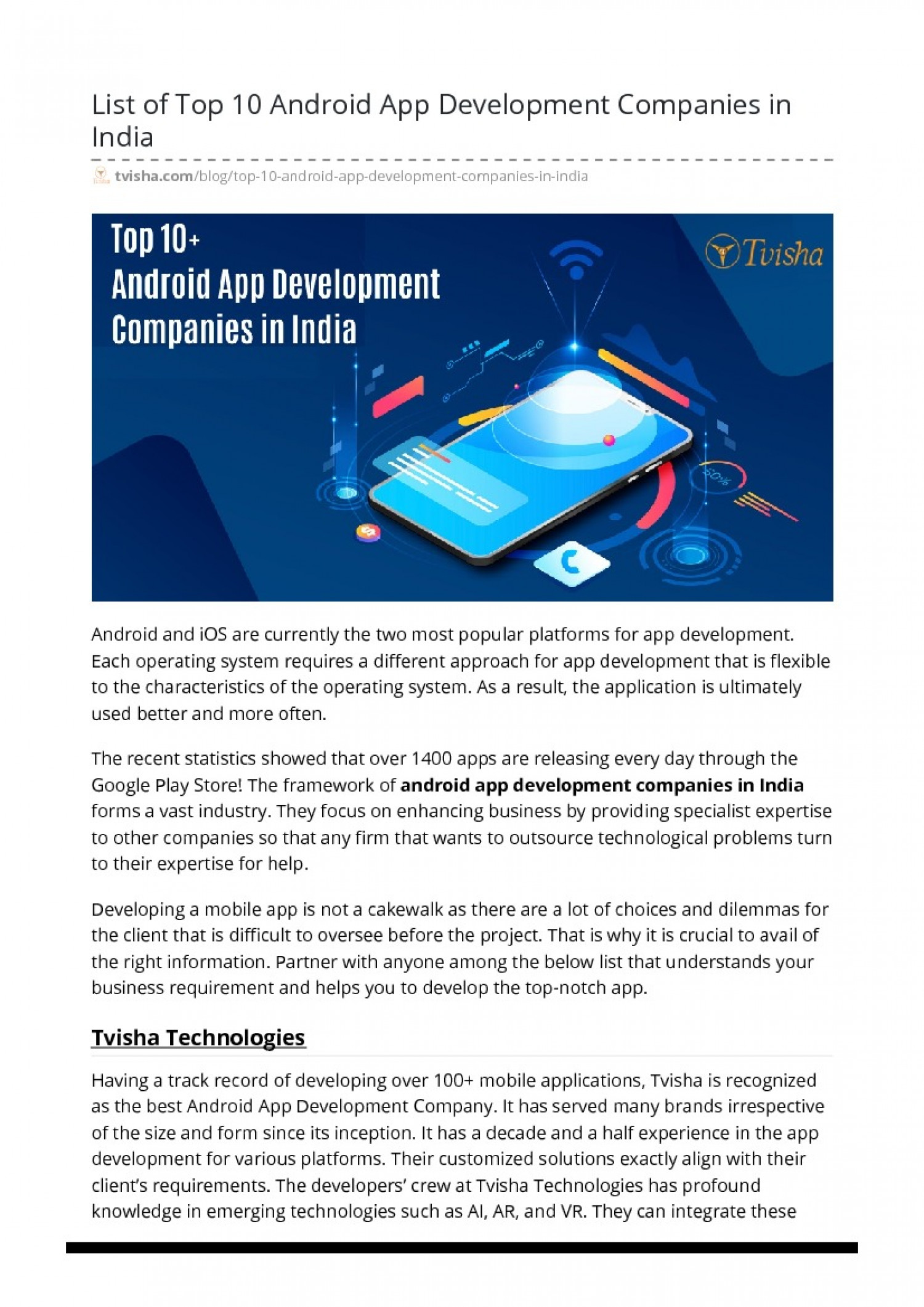Top 10 Android App Development Companies in India Infographic