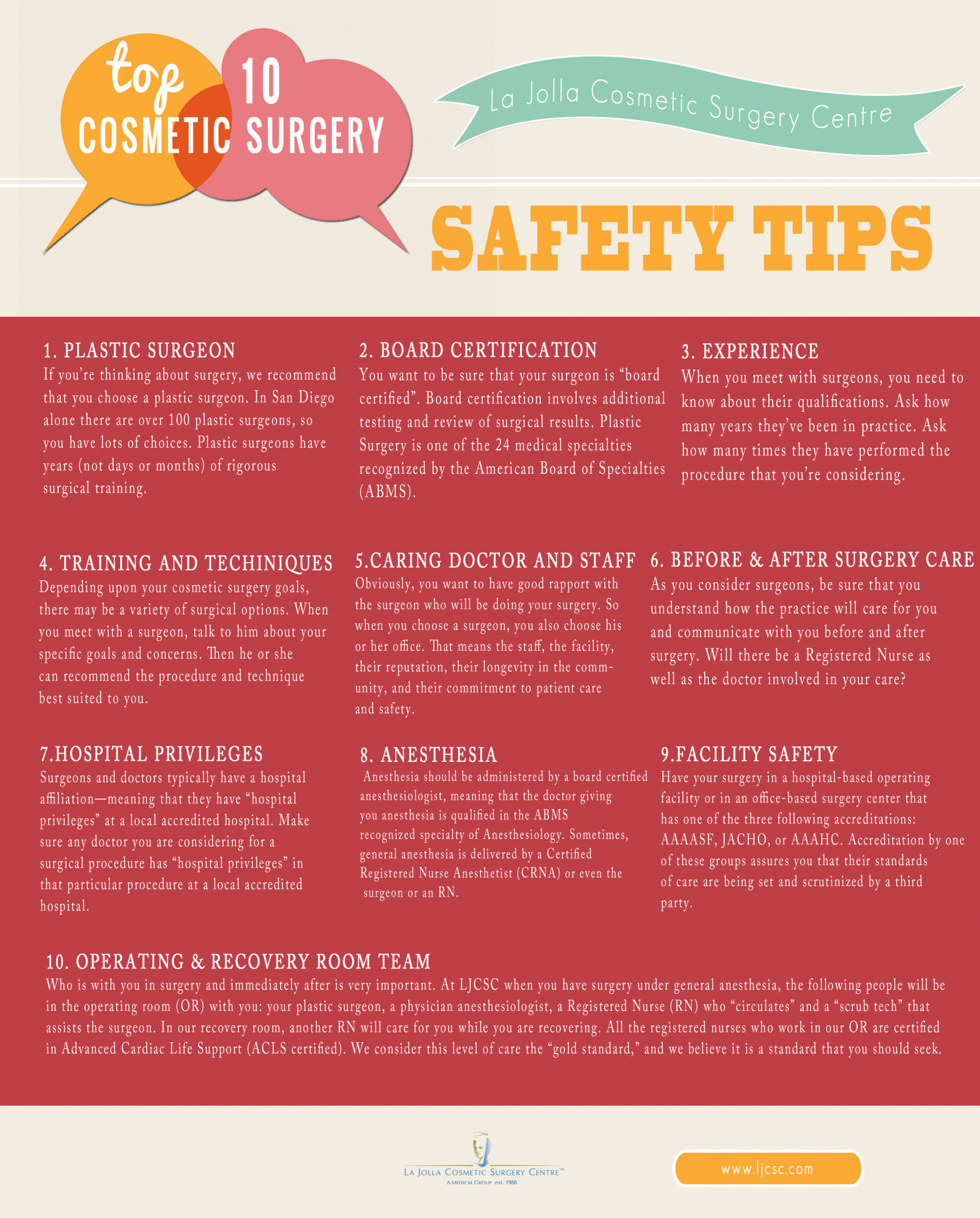 Top 10 Cosmetic Surgery Safety Tips Infographic