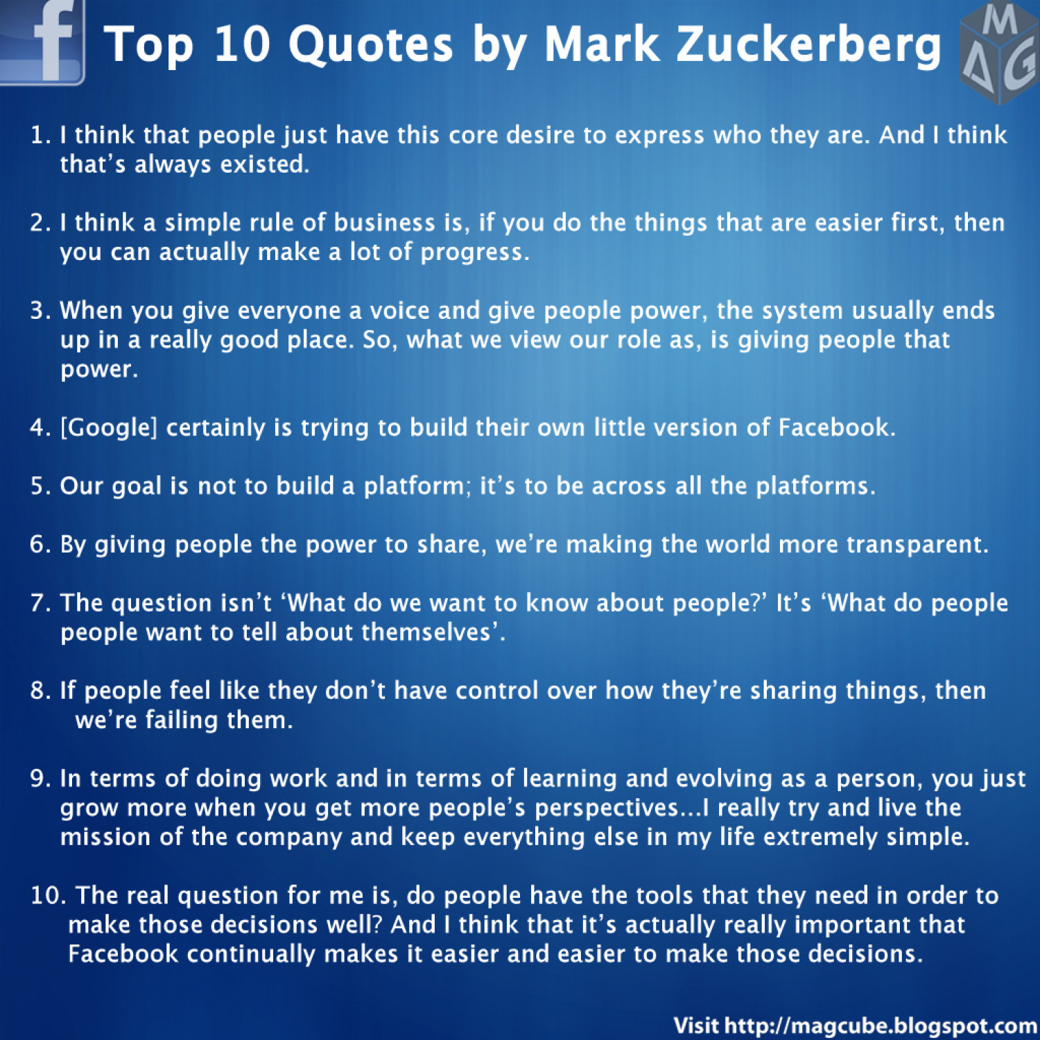 Really Good Quotes Top 10 Quotesmark Zuckerberg  Visual.ly