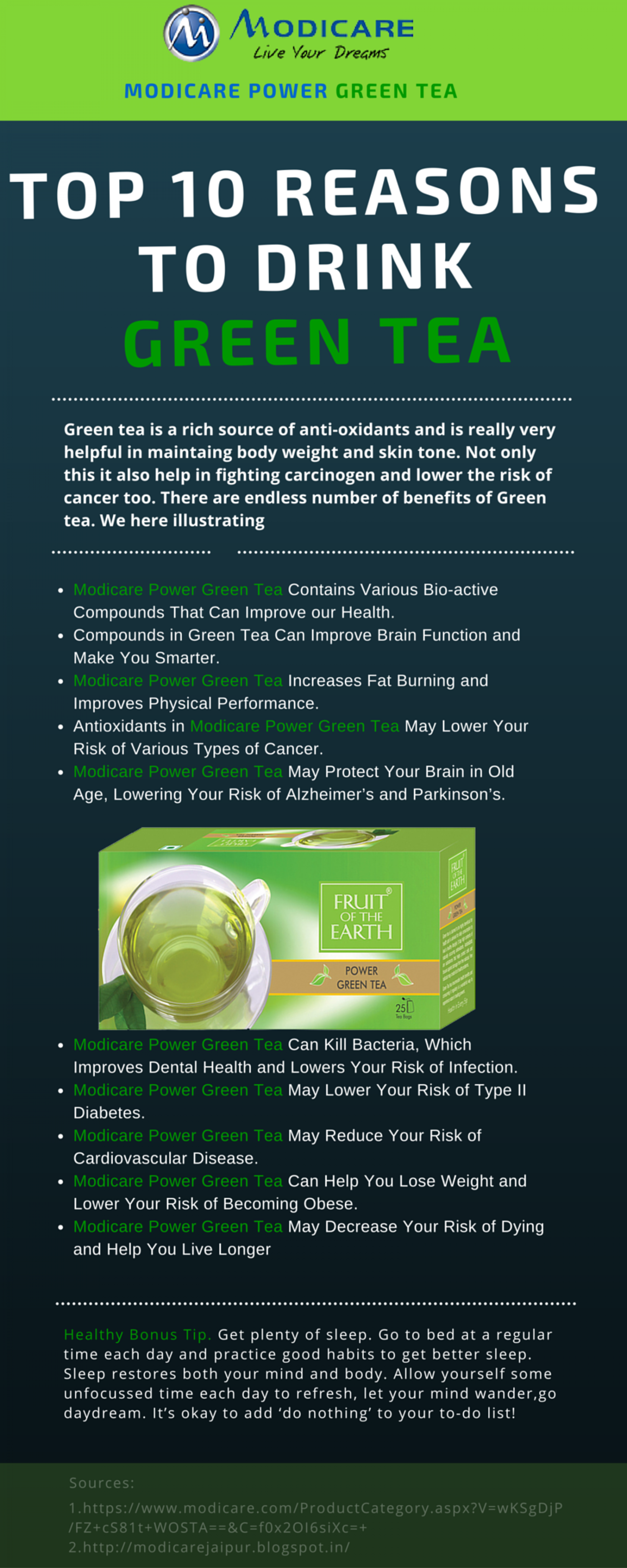 top 10 reason to drink green tea - infographic | visual.ly