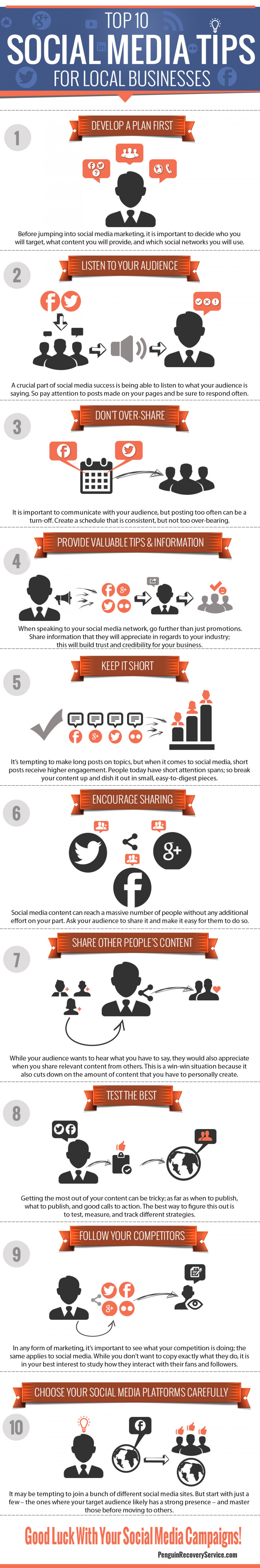 Top 10 Social Media Tips For Local Business Infographic
