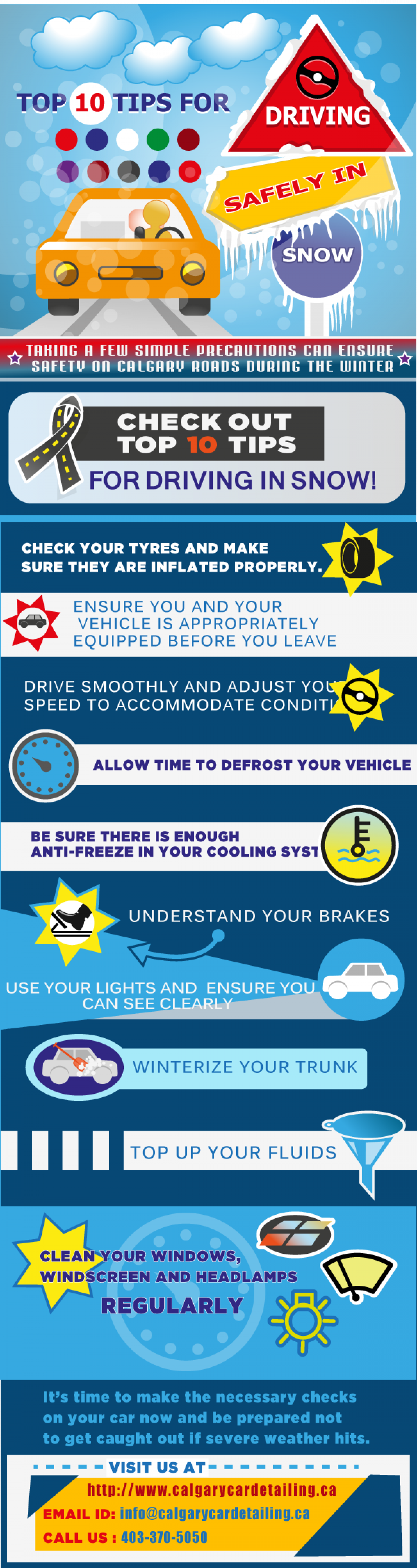 Top 10 Tips for Driving Safely in Snow Infographic