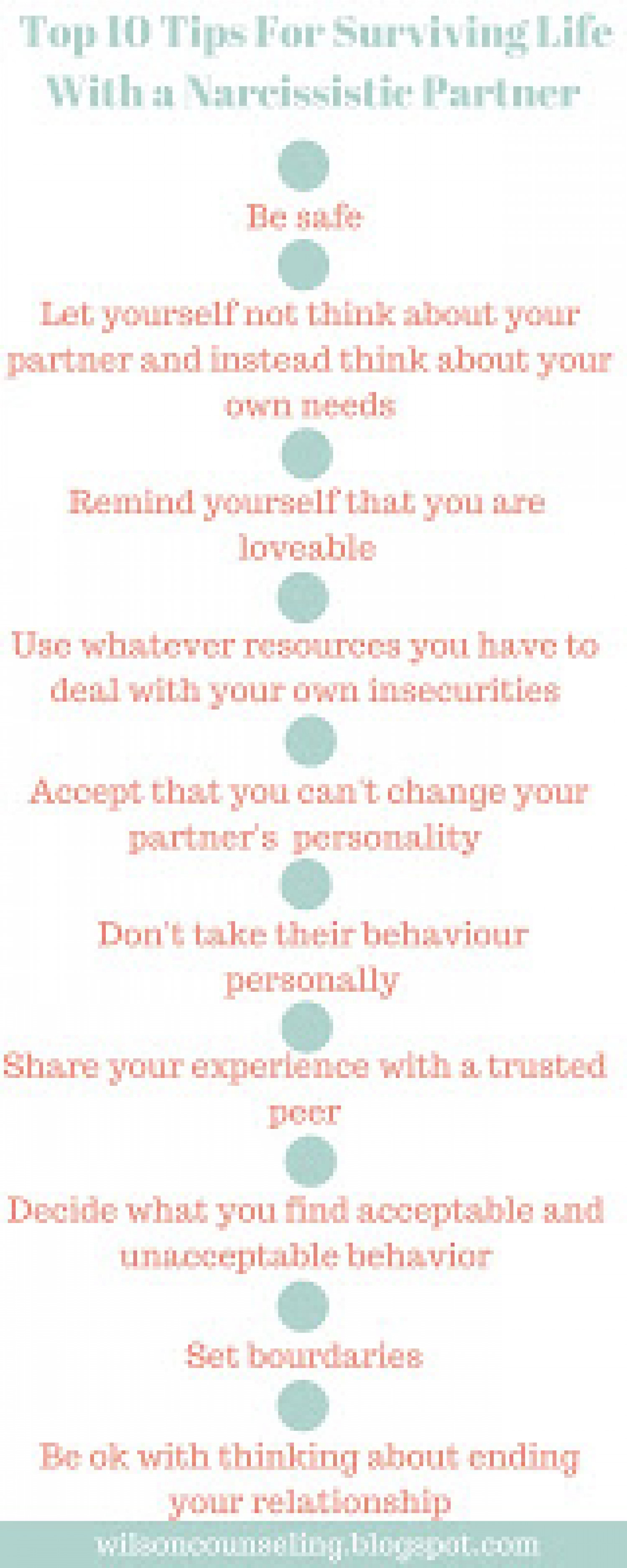 Top 10 Tips For Surviving Life With a Narcissistic Partner Infographic