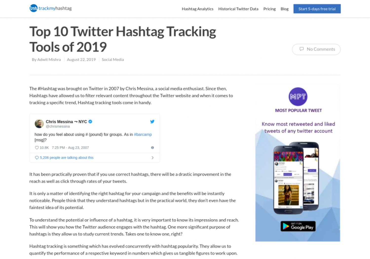 Top 10 Twitter Hashtag Tracking Tools of 2019 Infographic