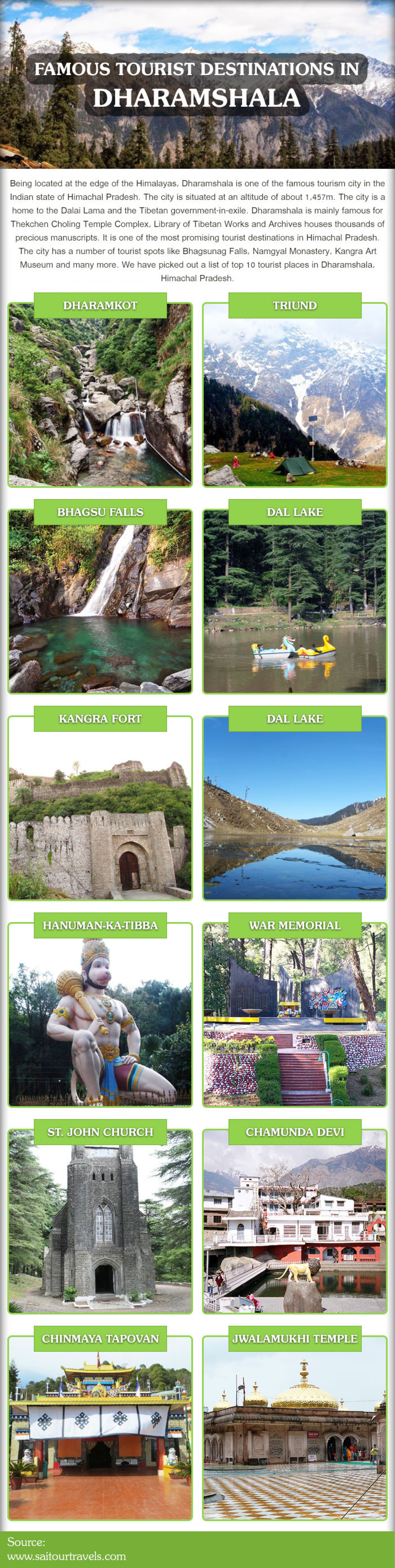 Top 12 Tourist Attractions in Dharamshala Infographic