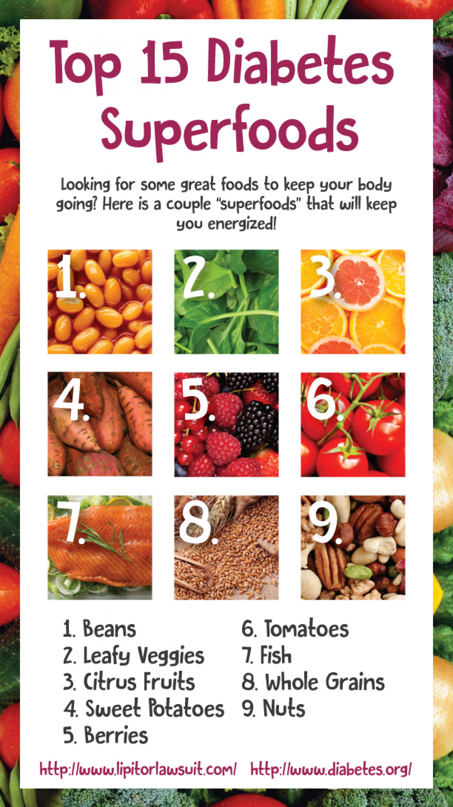 Top 15 Diabetes Superfoods! Infographic