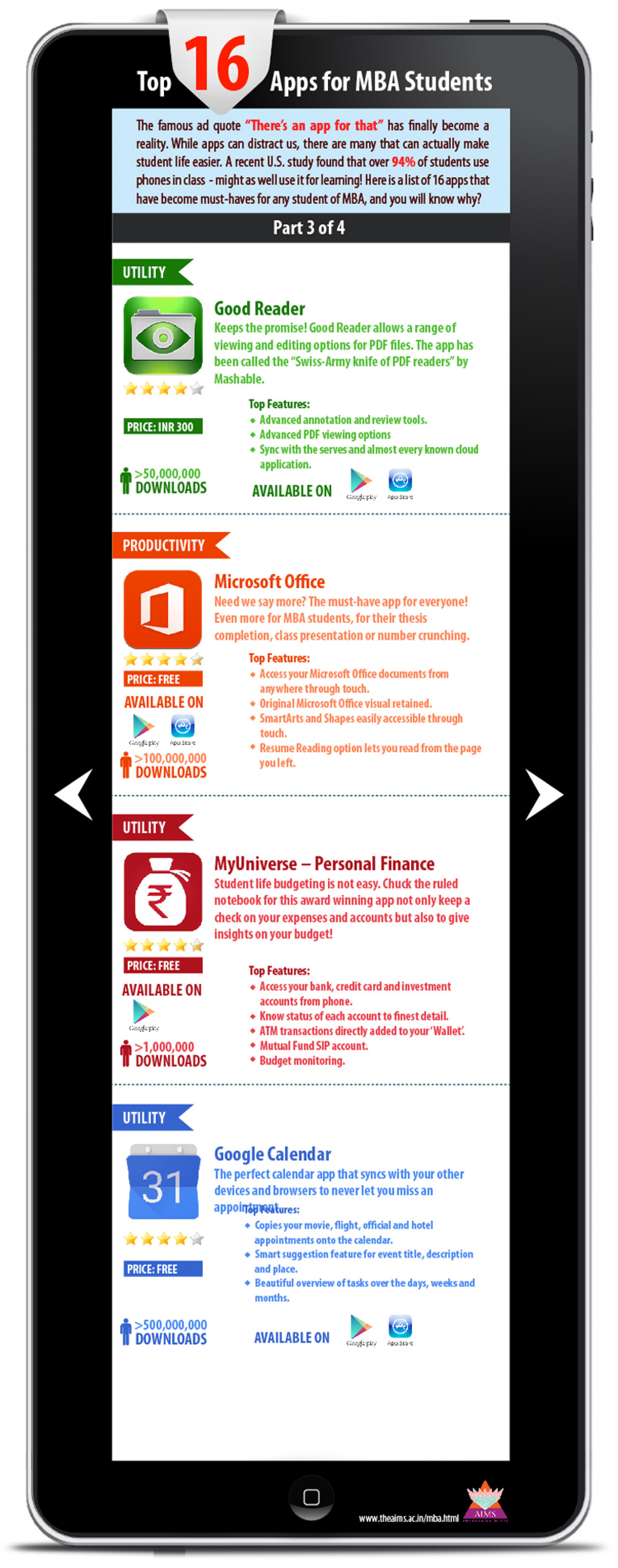 Top 16 Mobile Apps for MBA Students - Part 3 of 4 Infographic