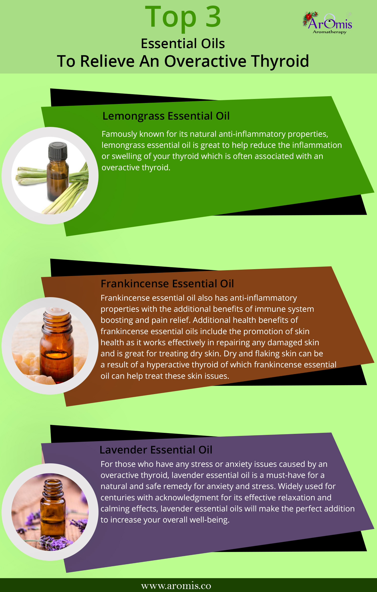 Top 3 Essential oils to relieve an overactive thyroid Infographic