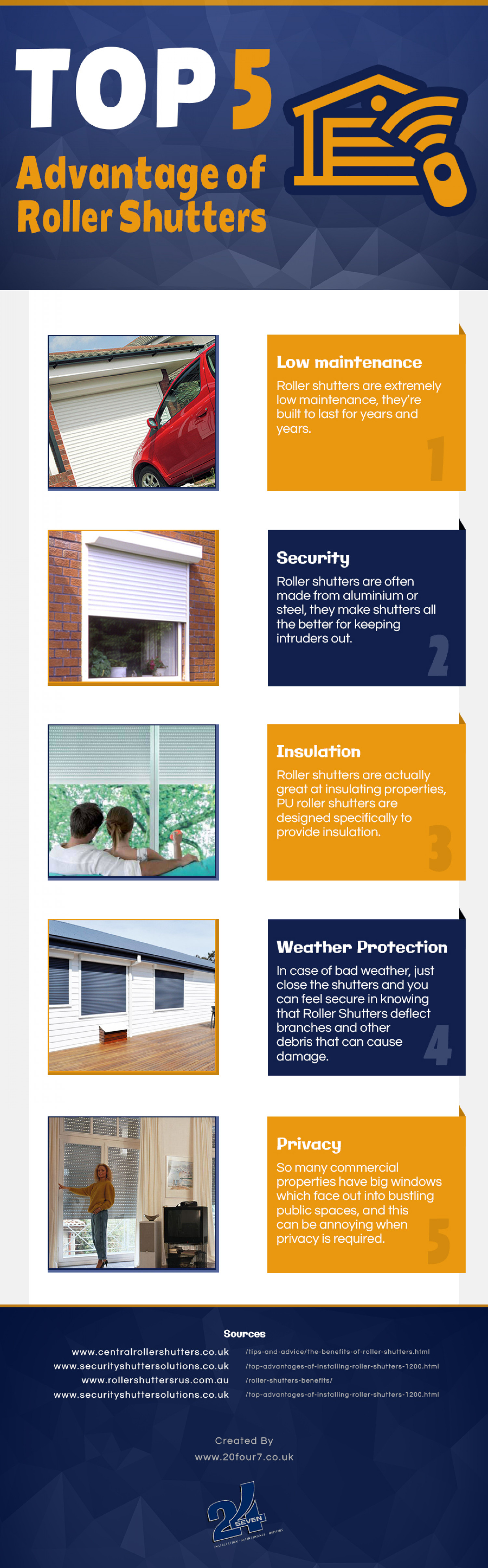 Top 5 Advantages of Roller Shutters Infographic