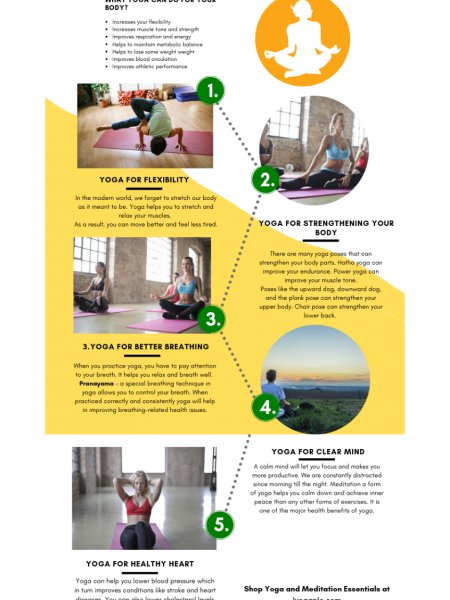 TOP 5 AMAZING HEALTH BENEFITS OF YOGA Infographic