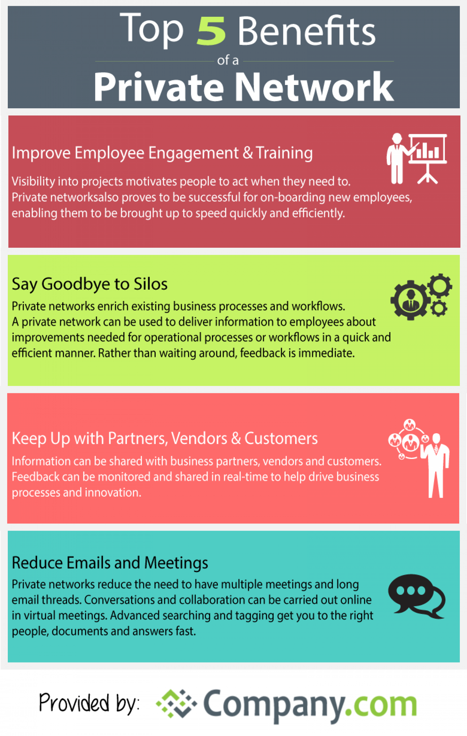 Top 5 Benefits of a Private Network Infographic
