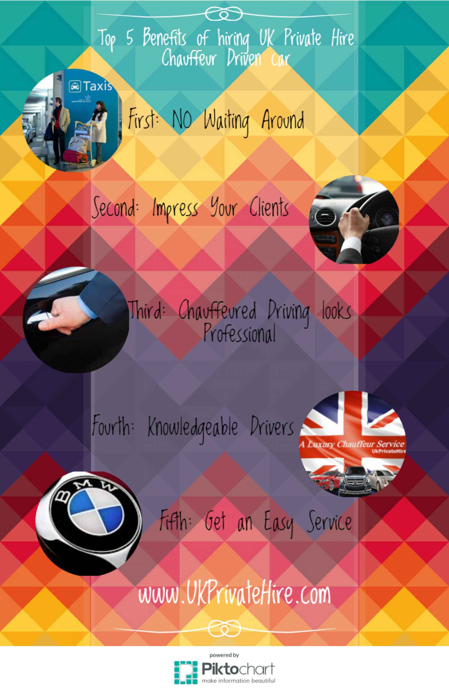 Top 5 Benefits of hiring UK Private Hire Chauffeur Driven car Infographic