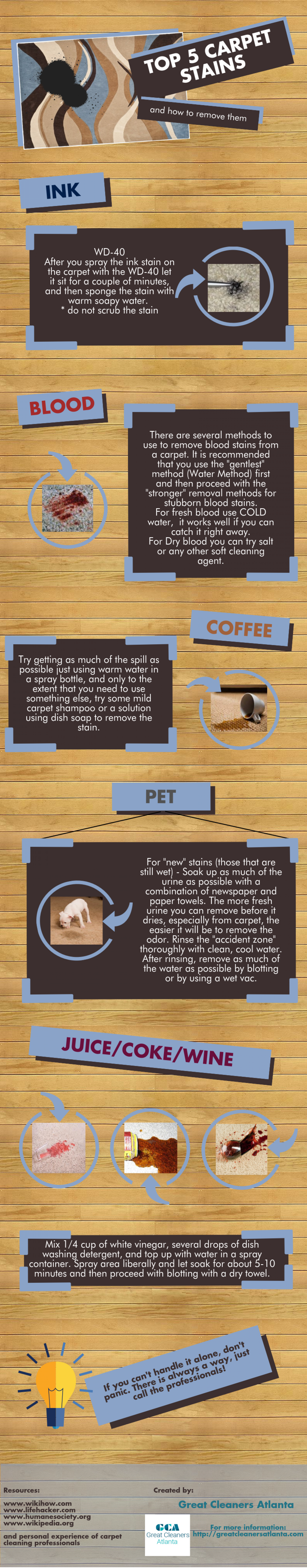 TOP 5 Carpet Stains Infographic