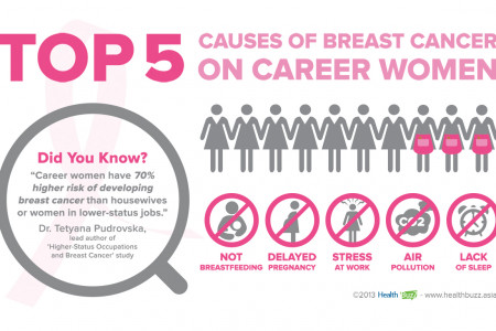 Top 5 Causes of Breast Cancer on Career Women Infographic