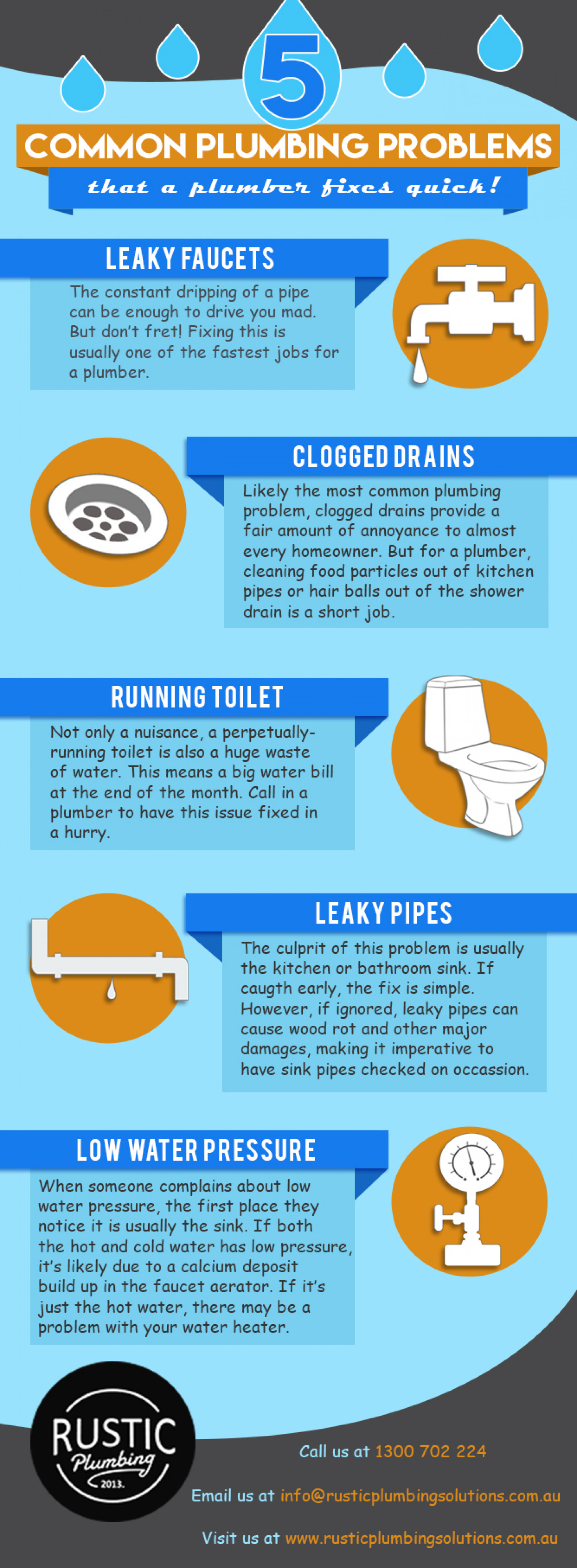 top 5 common plumbing problems visual ly