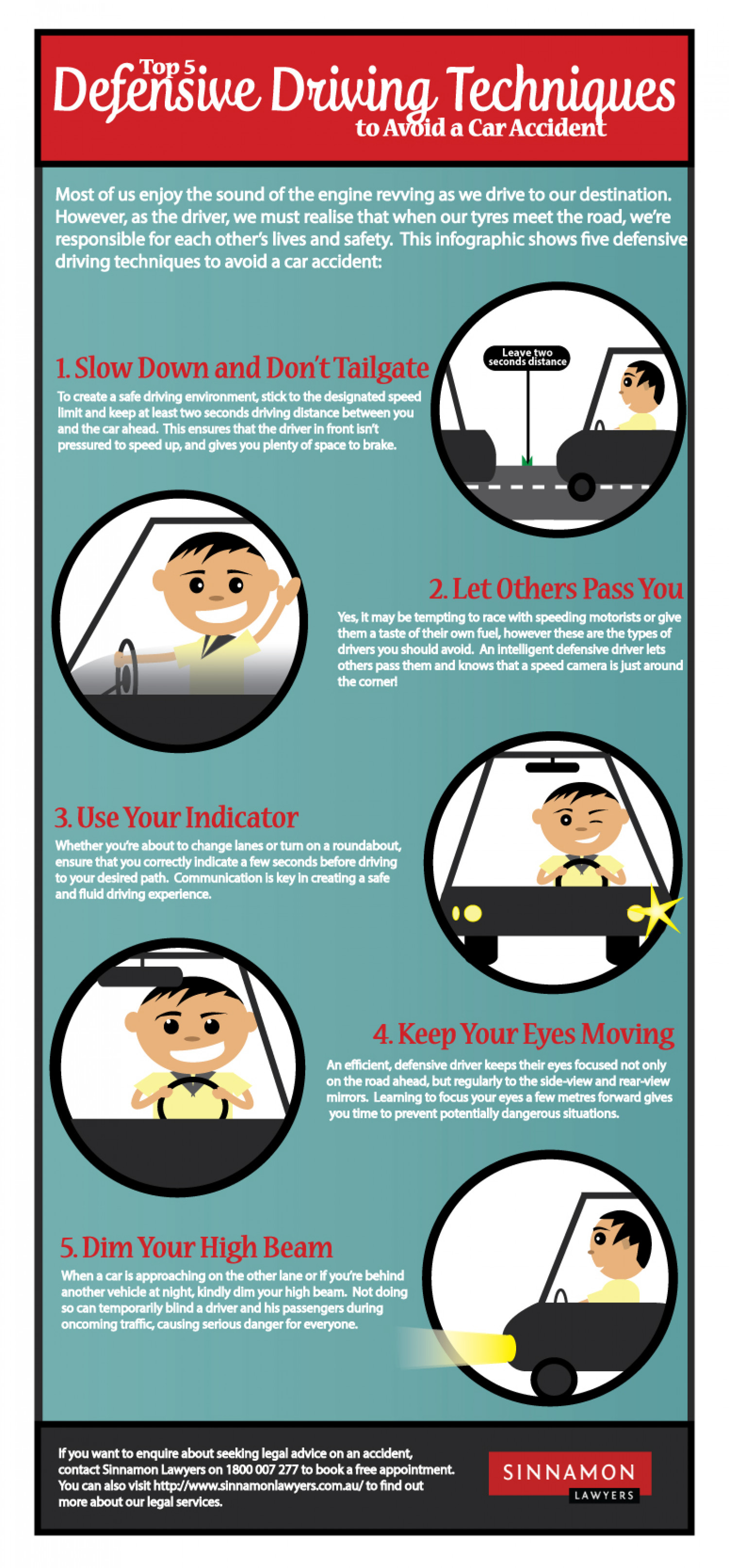 Top 5 Defensive Driving Techniques to Avoid a Car Accident  Infographic