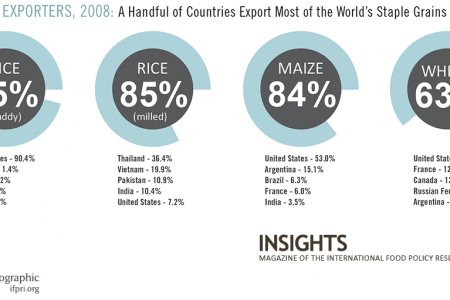 Top 5 Exporters, 2008: A Handful of Countries Exports Most of the World's Staple Grains Infographic