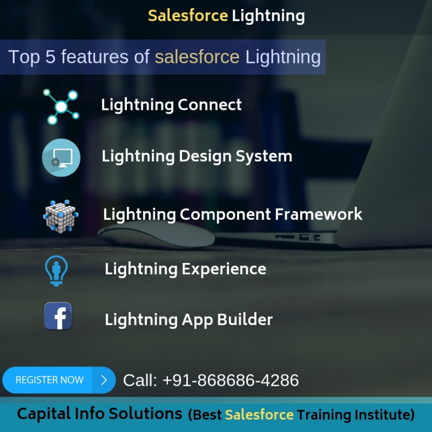 Top 5 features of salesforce lightning Infographic