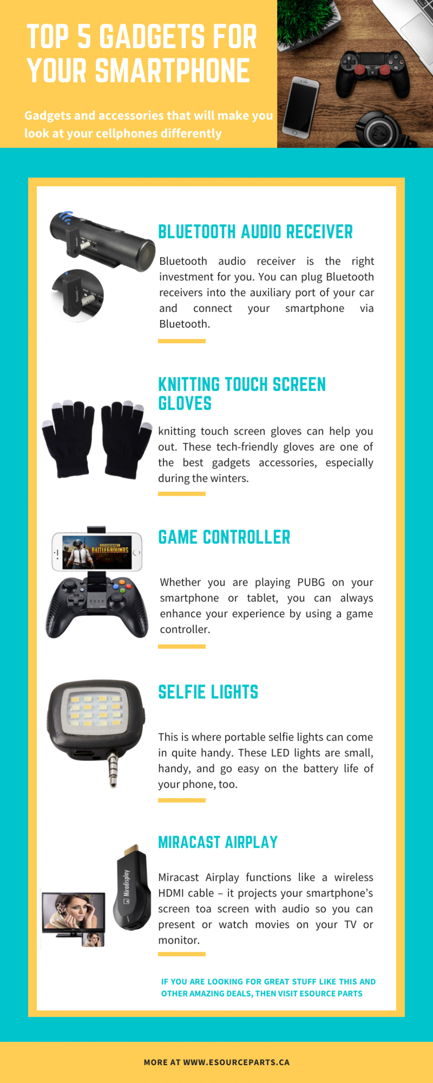 Top 5 Gadgets for Your Smartphone Infographic