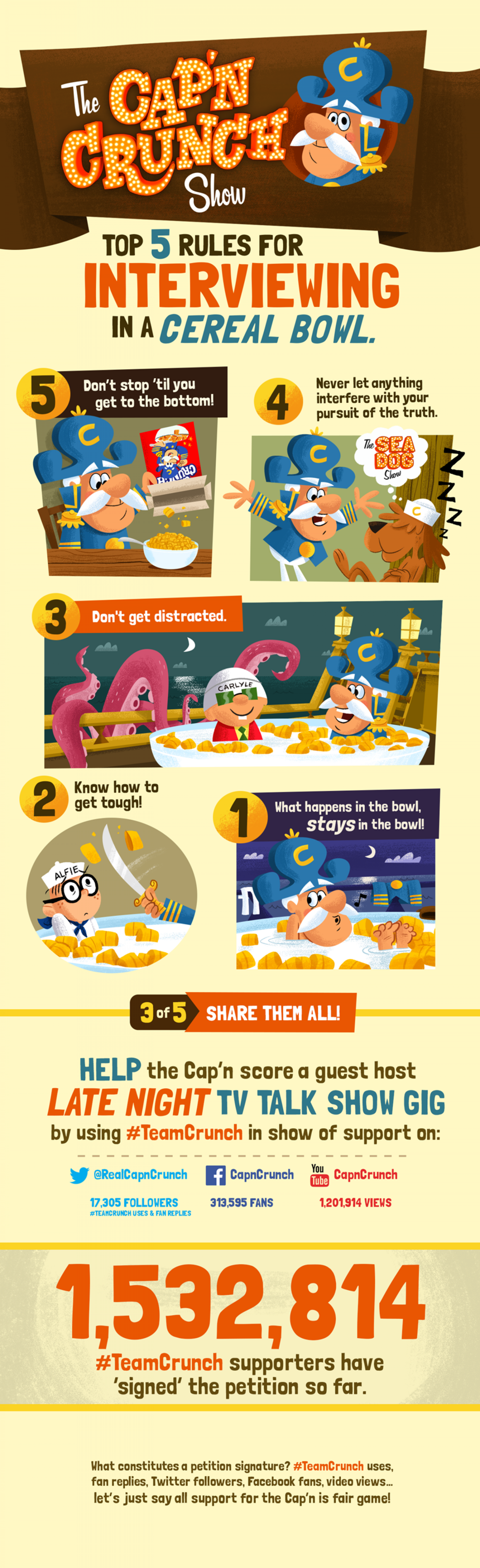 Top 5 Rules for Interviewing in a Cereal Bowl Infographic
