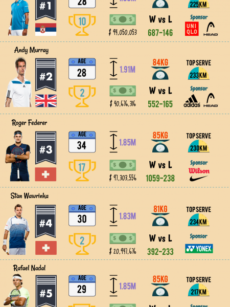 Top 5 Tennis Players (Keys Facts Visually) Infographic