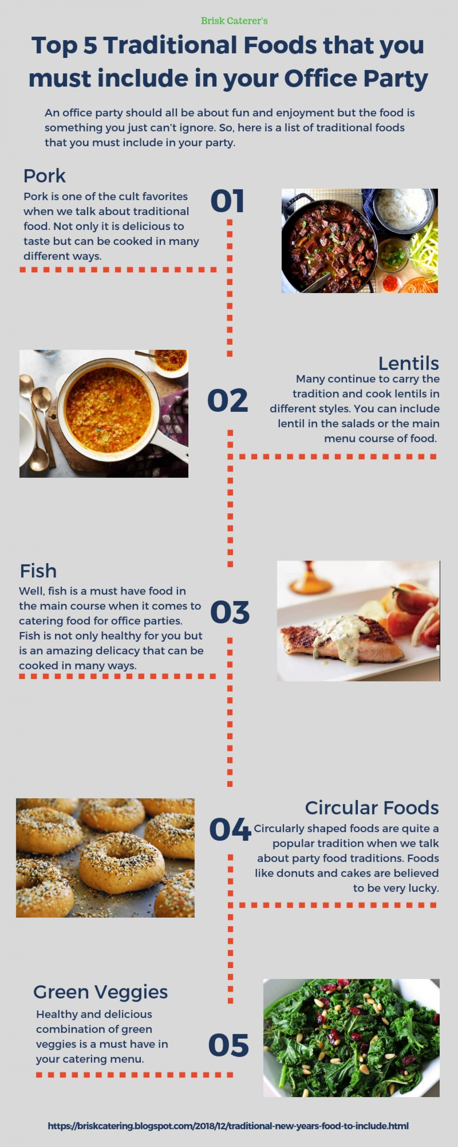 Top 5 Traditional Foods that you must include in your Office Party Infographic
