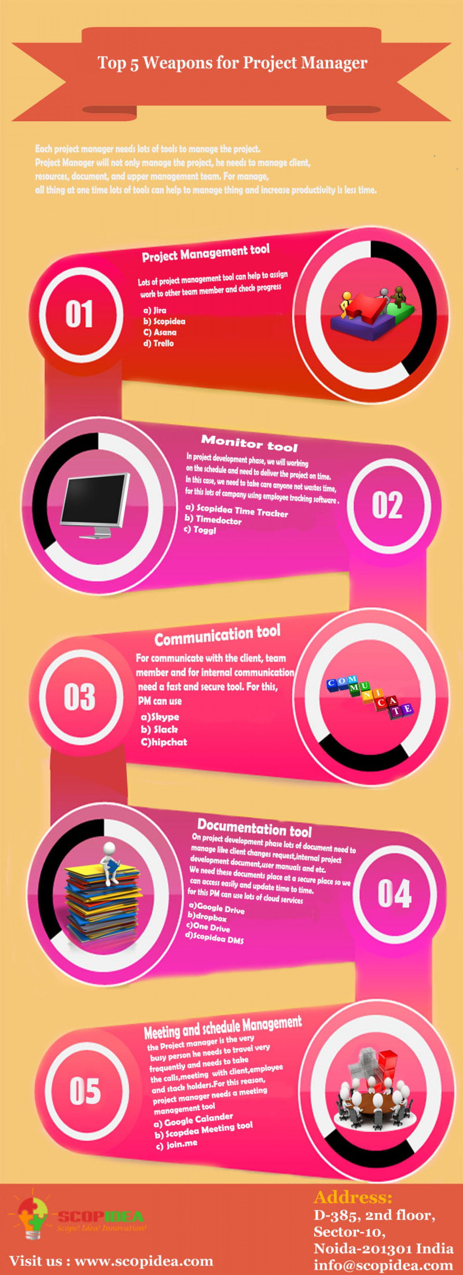 Top 5 wepons for project manager Infographic