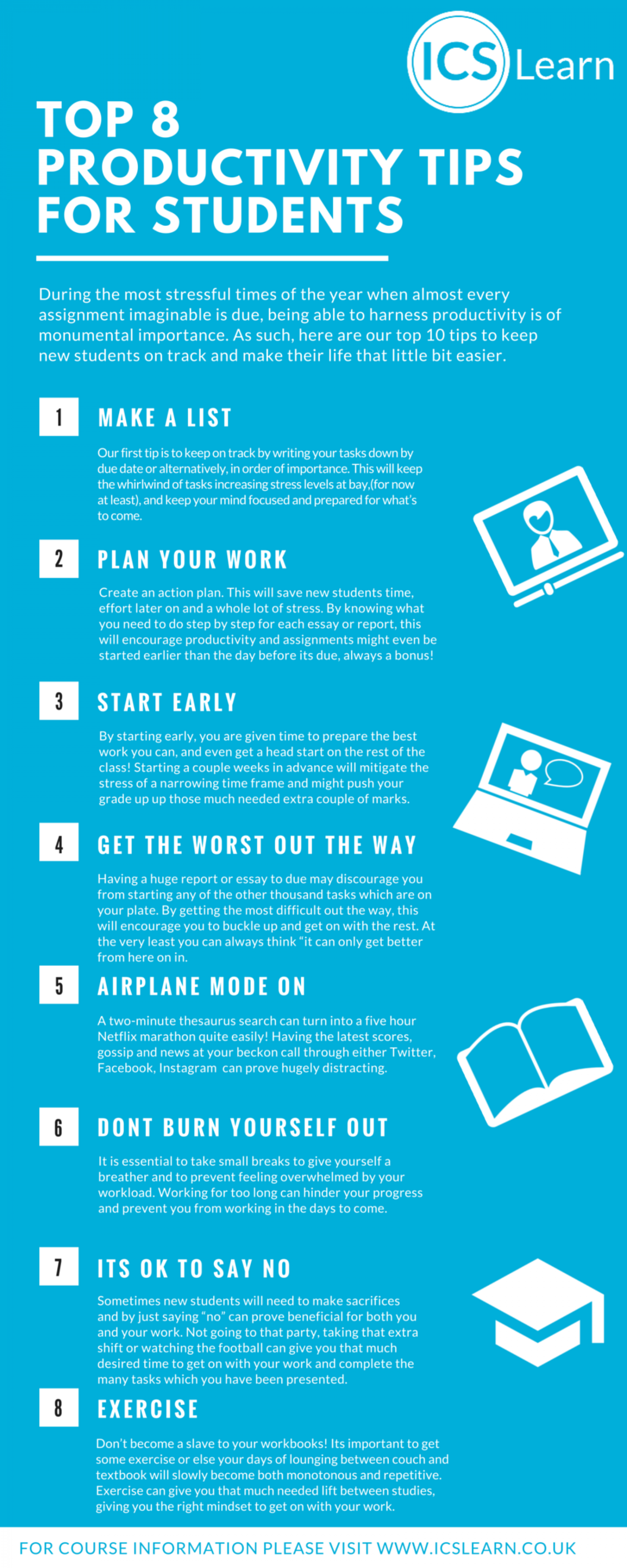 Top 8 Productivity Tips for New Students Infographic