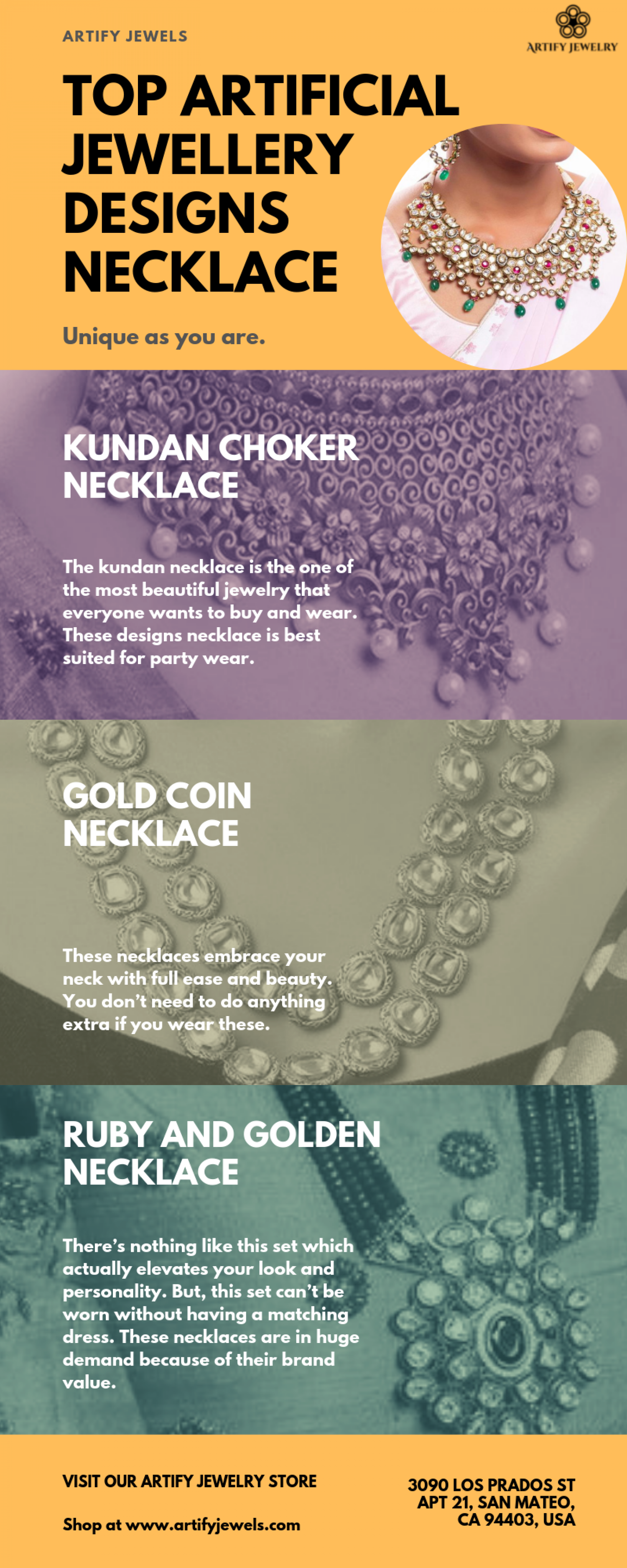 Top Artificial Jewellery Designs Necklace at Artify Jewels Infographic