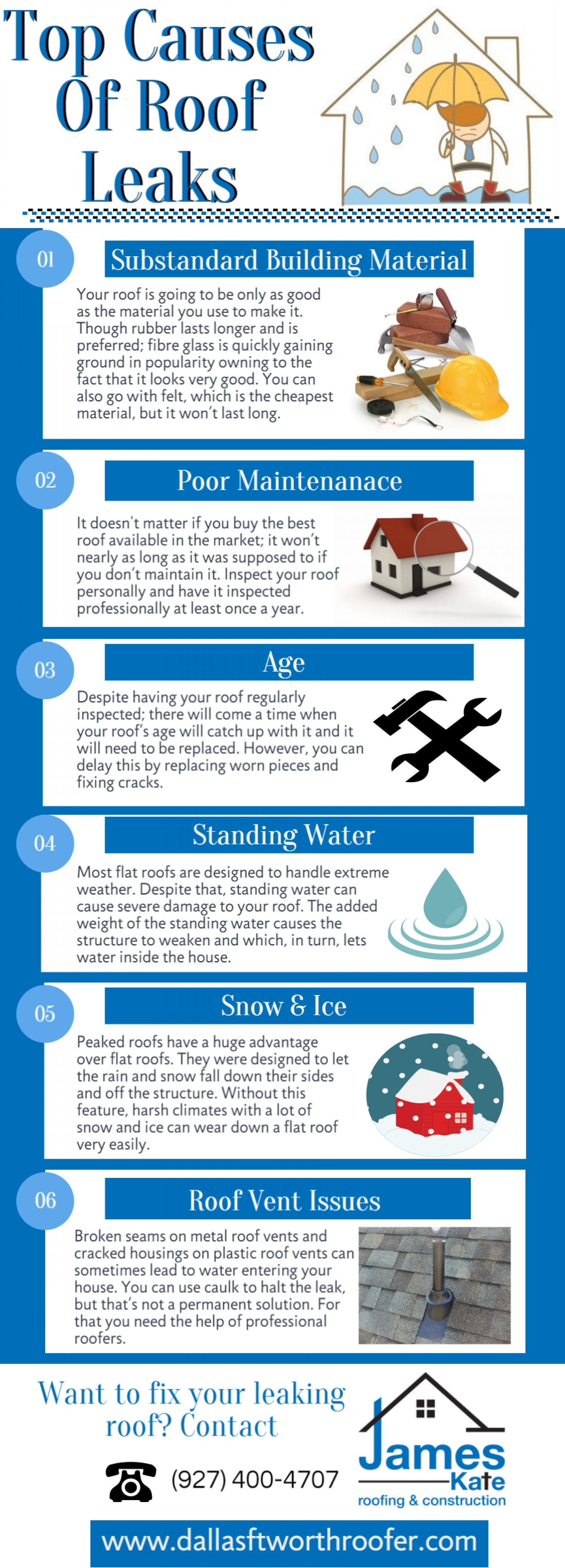 Top cases of roof leaks Infographic