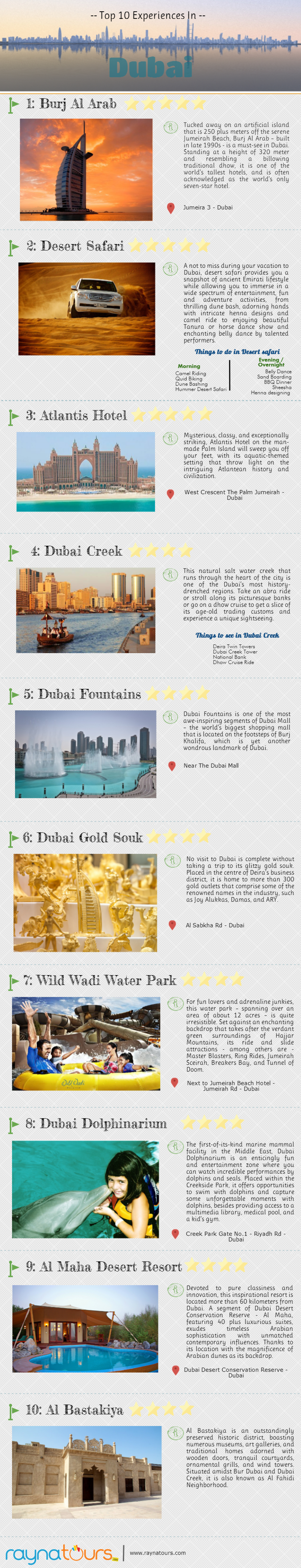 Top 10 Experiences In Dubai Infographic