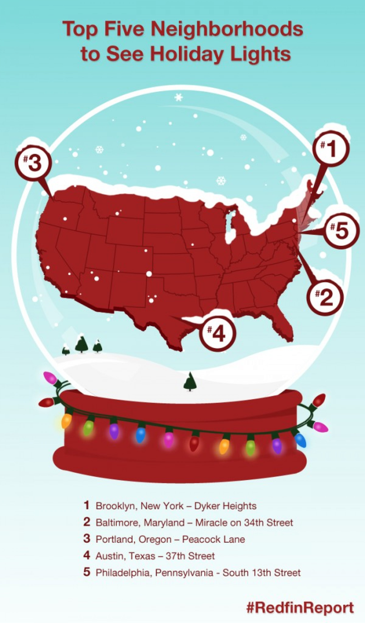 Top Five Neighborhoods to See Holiday Lights in the U.S. Infographic