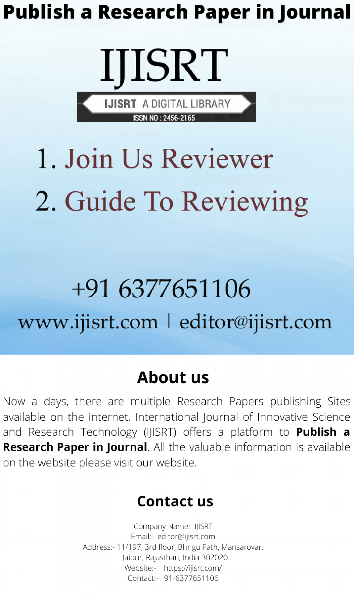 Top- rank Research Papers Sites- IJISRT Infographic