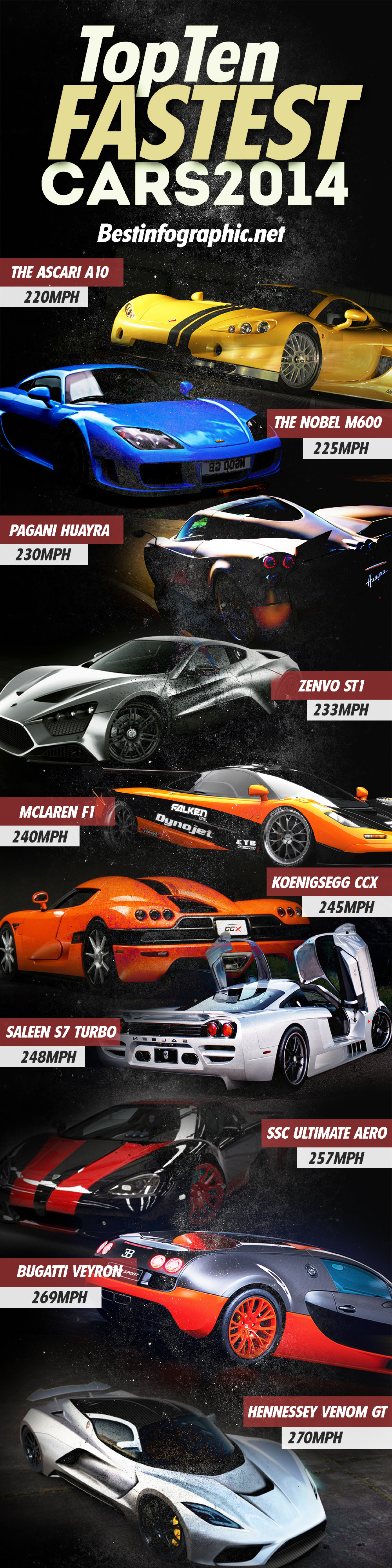 Top Ten Fastest Cars in the World 2014 Infographic