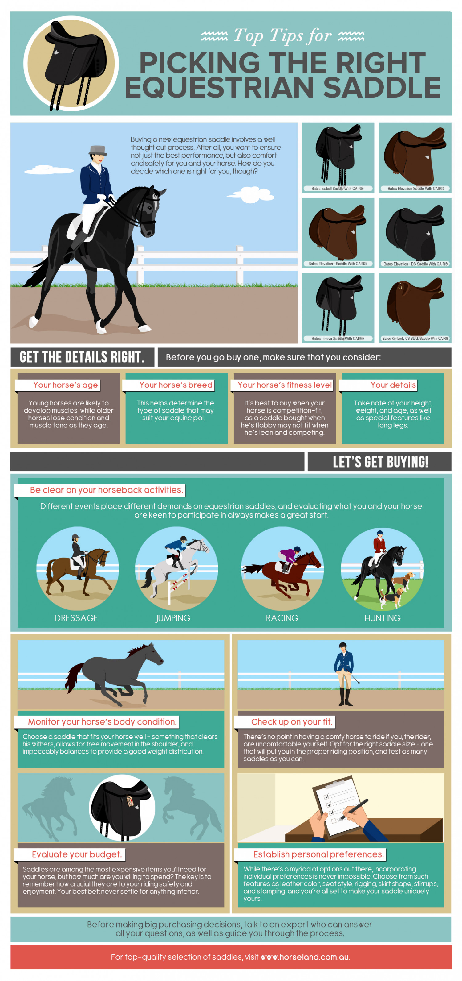 Top Tips for Picking the Right Equestrian Saddle Infographic