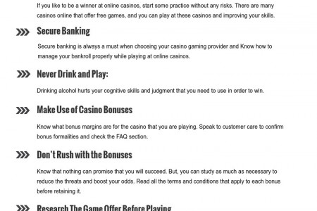 Top Winning Tips For Playing At Online Casino Infographic