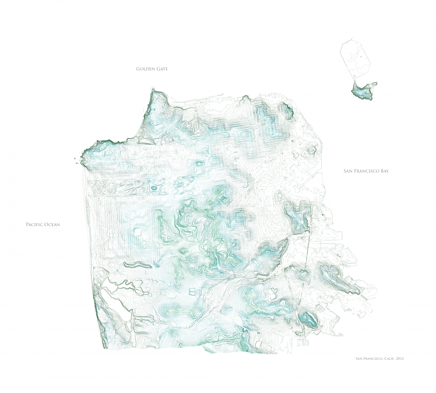 Topographical Map of San Francisco Infographic