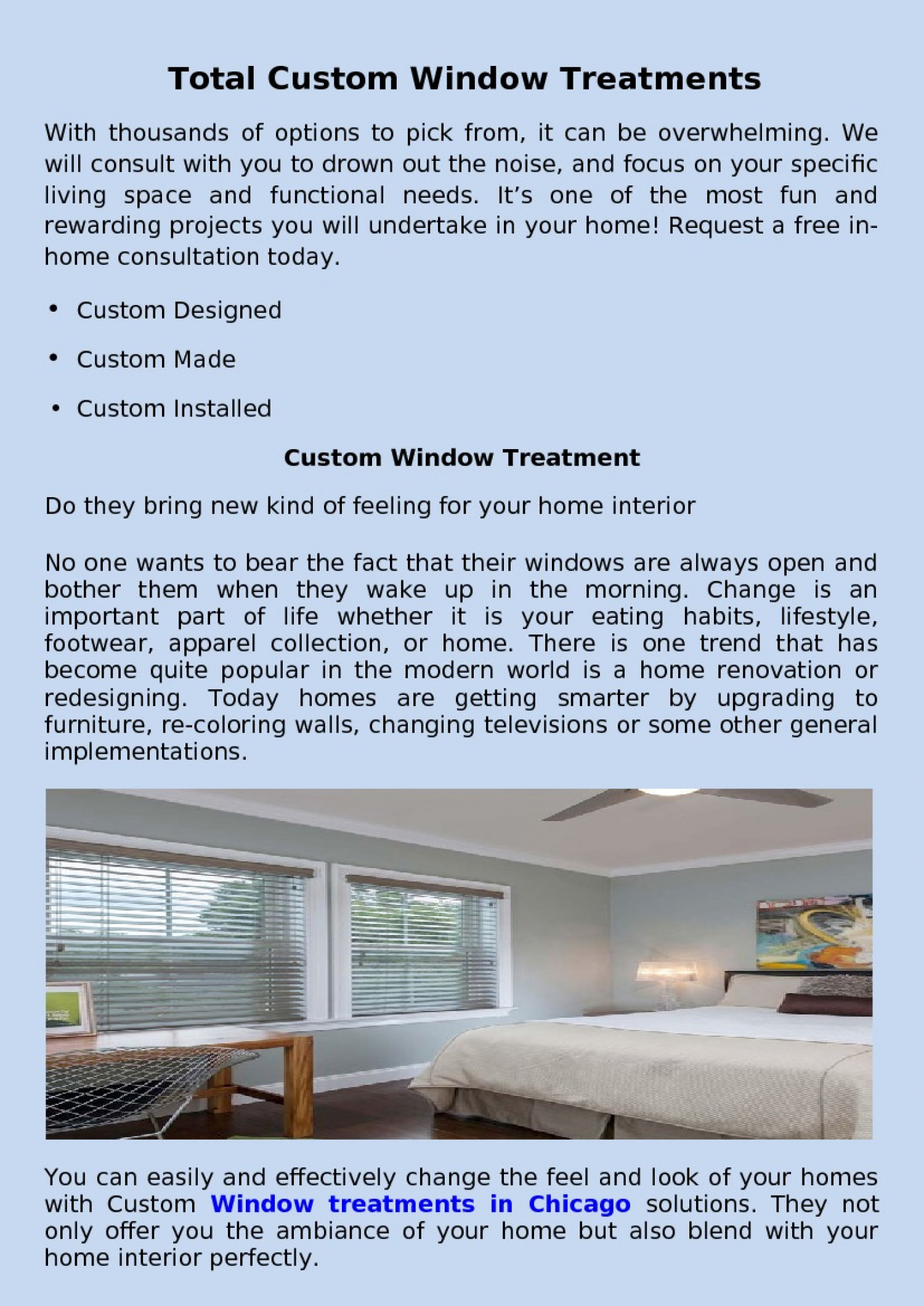 total custom window treatments in chicago Infographic