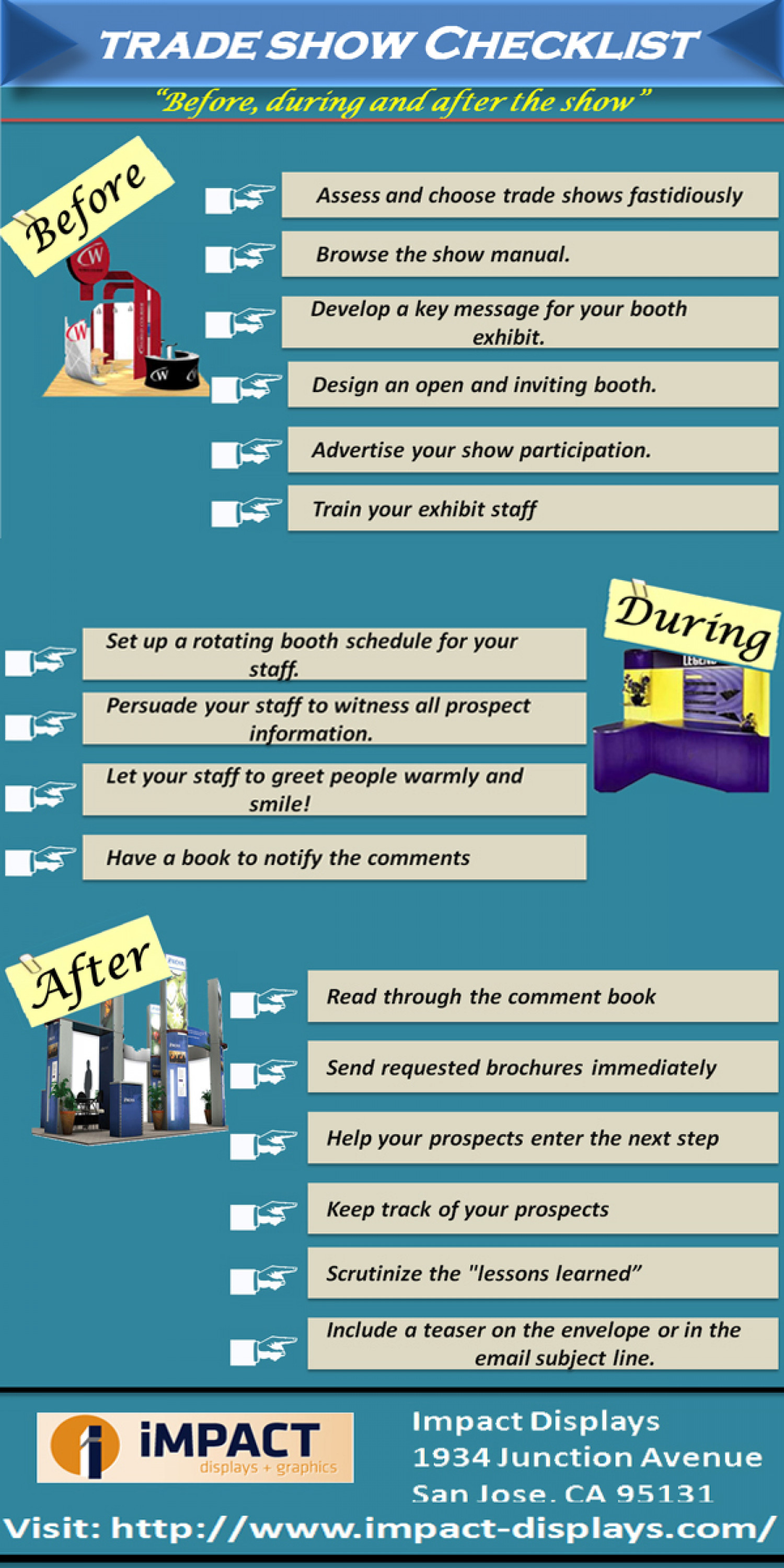 Trade show checklist - before during and after the show Infographic