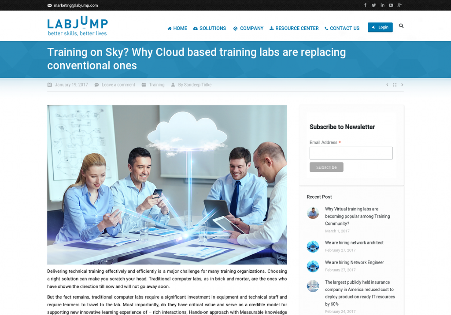 Training on Sky? Why Cloud based training labs are replacing conventional ones Infographic