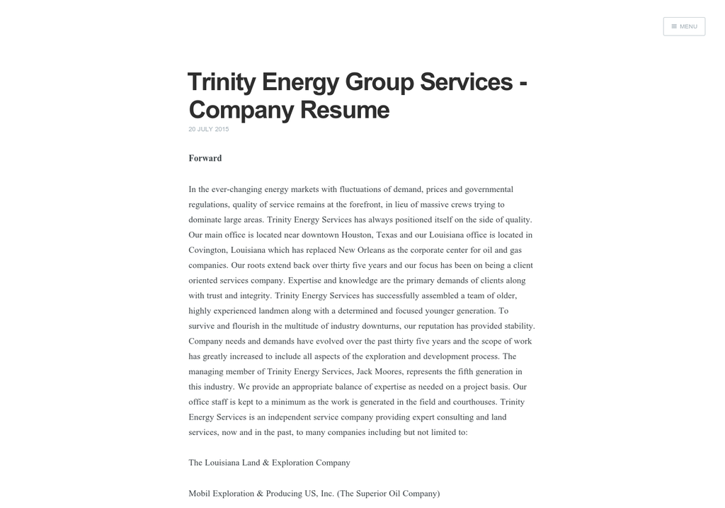 trinity energy group services company resume visually